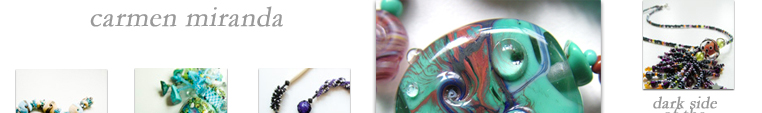 Jewellery featured on this page includes Carmen Miranda, Archangel Raphael, Bubbles, Mediterranean Spring, Zebra Choker, Turquoise Treasure, Sparkling Eyes, Going Bananas, Elegance and Archangel Michael